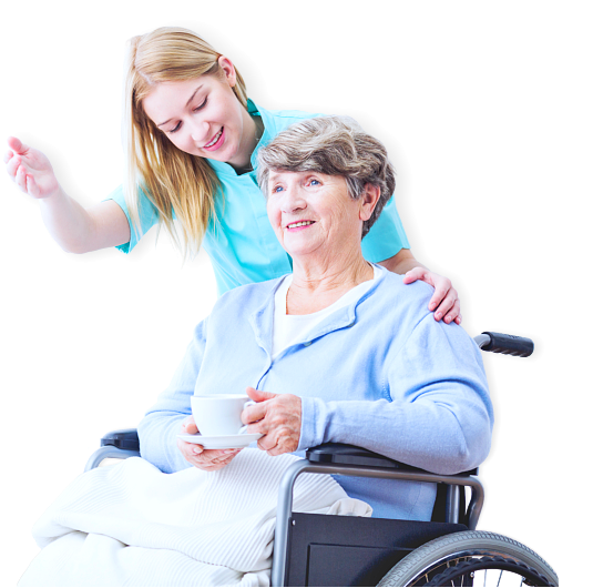 elder woman on wheelchair and staff smiling